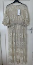 ZARA SS19  ECRU/ BEIGE LONG LACE BEADED EMBROIDERED DRESS SIZE L BNWT