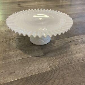 "Vintage Milk Glass Hobnail 12.5"" Pedestal Cake Stand Ruffle Lace Edge"