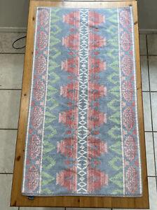 "Vtg Ralph Lauren Aztec Southwest Bath Towel Green Blue Pink RARE 49"" X 27"""