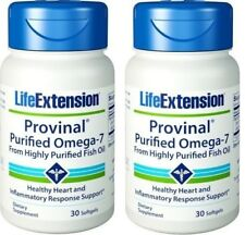 Life Extension Provinal Purified Omega-7 for Healthy Heart, (30 Softgels X 2)