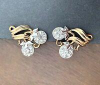 Earrings Trifari Pat Pend Rhinestone Cherries Floral Vintage Rare