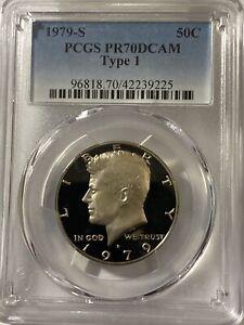 1979-S TYPE 1 50C Kennedy Half Dollar Proof PCGS PR70DCAM (TOP GRADED)
