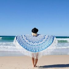 Ombre Mandala Poncho Indian Round Tapestry Beach Wear Women Blue Top Tassel Lace
