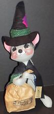 """ANNALEE HALLOWEEN WITCH MOUSE WITH TRICK OR TREAT BAG 18"""" 3045 NEW IN BAG"""