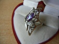 RING SILVER 925 Ukraine Vintage size 7 stone violet and white