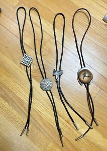Mixed lot of vintage leather Bolo slide ties