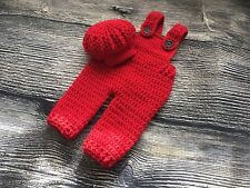 Newborn Baby Boy Red Crochet Overalls And Cap Photo Prop Pants Outfit Clothes