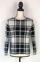 J JILL Women Windowpane Plaid Sweater Black White Checks Sz XS Petite Boat Neck
