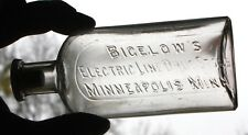 RARE BIGELOW'S ELECTRIC LINE DRUG STORE MINNEAPOLIS MINN DRUGGIST BOTTLE