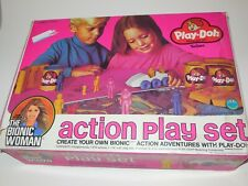 Vintage 1974 Play-Doh Yellow Bionic Woman Mold Toy With Original Box