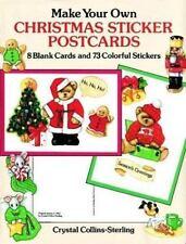 MAKE YOUR OWN CHRISTMAS STICKER POSTCARDS, 8 blank cards, 73 colorful stickers