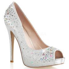 "5"" Gold Rhinestone Peep Toe Formal Dance Heels Bridesmaid Shoes 6 7 8 9 10 11"