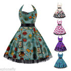 Rock N Roll Vintage 50s Housewife Big Swing Cocktail Party Halter Dance Dresses