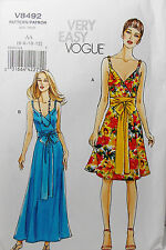 Vogue Pattern #V8492 Misses Mock Wrap Dress 2 Lengths Size (6-8-10-12)