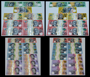 2008-19 Australia Dollars 2-100, 3-50, 6-20, 5-10, 5-5 Polymer Banknote Set UNC