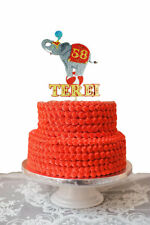 Cake Topper Circus elephant  Big Top  Glitter Foamy Personalized  MDF 1 PC