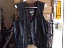 "Vintage Black Leather Vest All American Rider Size"" Large."