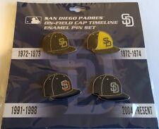 MLB SAN DIEGO PADRES ON-FIELD CAP TIMELINE ENAMEL PIN SET (NWT)