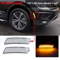 Amber Front LED Bumper Side Marker Light Clear For VW Tiguan 18- Beetle1 12-18