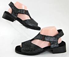 Mephisto Ankle Strap Sandals Black Snakeskin Embossed EU 41 / US 11