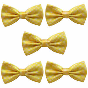 5 PCS Mens White Polka Dots Bow Tie Adjustable Wedding Party Business Bowtie