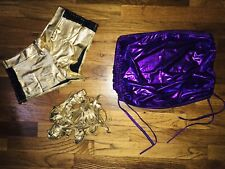 3 Piece Stripper Dance Wear Set Gold Booty Shorts Leg Wraps Purple Mini Small