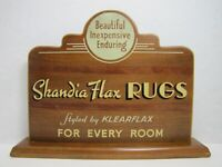 SKANDIA FLAX RUGS Original Old Art Deco Store Display Counter Top Wooden Sign Ad