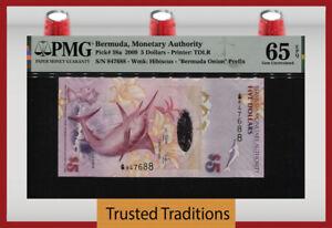 TT PK 58a 2009 BERMUDA MONETARY AUTHORITY 5 DOLLARS PMG 65 EPQ GEM UNCIRCULATED!