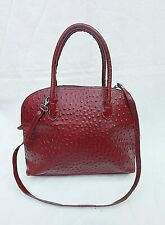 VERA PELLE ITAILIAN DARK RED & BLACK TEXTURED LEATHER BAG 13X10X5 FREE UK P&P!!