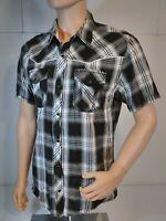 BKE Men's White, Gray & black Plaid Short Sleeve Slim Fit snap button shirt Sz L