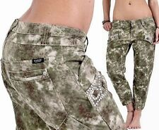 GUESS Womens Camouflage Capri Cargo Pants 7/8 Bermuda Jeans 27 Army Designer 109...
