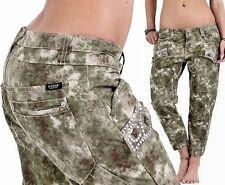GUESS Donna Mimetico Capri Cargo Pant 7/8 BERMUDA JEANS 30 Army Designer 109 €