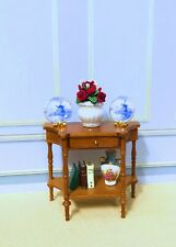 JBM Dollhouse Miniature Walnut Display Side Table With Working Drawer (ONLY)