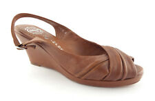 New JEFFREY CAMPBELL Size 8 WHIRL Brown Slingback Wedge Heels Shoes