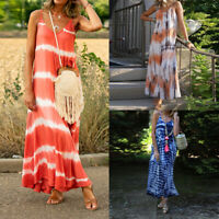 ❤️ Womens Strappy Sleeveless Maxi Dress Beach Holiday Casual Loose Long Sundress
