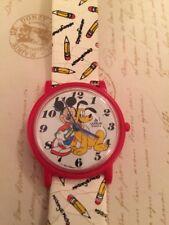 "Rare Disney Lorus Watch Mickey Mouse Pluto ""Mickey & Pluto"" Pencil Watch Band"