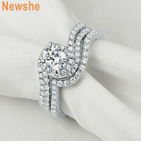 Newshe Engagement Wedding Ring Set For Women Round Cz 925 Sterling Silver 5-10