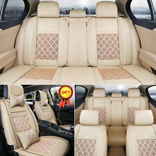 Universal 5-Seats Car Seat Cover PU Leather Ice Silk Needlework Front&Rear Beige