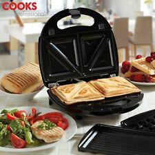 Sandwich Toaster Panini Grill Waffle Maker 3in1 Non Stick Toastie Machine COOKS