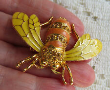 Austrian Crystal Amber Goldtone Honey Bee Bug Brooch Pin Yellow