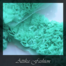 Turquoise --- French Ruffled Mesh Lace Trim *Per yard* *Very wide*