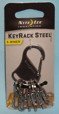 KEYRACK STEEL KEYCHAIN KEYRING CARABINER & 6 STAINLESS STEEL CLIPS NITE IZE NEW