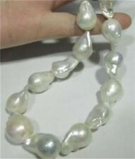 BIG!AAA+ SOUTH SEA WHITE BAROQUE PEARL NECKLACE 18 INCH