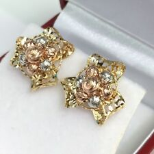 14k Solid Multi Tones Gold Cute Flower Stud Earrings, 2.68 Grams