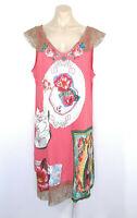 MISSLOOK Shift Dress Pink Plus Size 2XL Pink Religious Art Pattern EUC