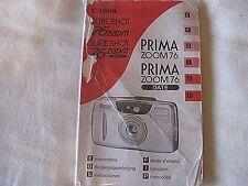 Canon Prima Date Super 105 35mm Camera Instruction Book E F G S I P  C2-25