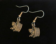 Puppy in Basket Earring Copper Dog Dogs Puppies Hound Fido Doggy Pooch Mutt