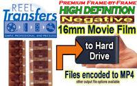 HD Transfer Color NEGATIVE 16mm film to HDD (premium frame-by-frame scannnig)
