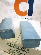 Box of 1 ply blue interleaved hand towels (5000 towels per box) *FREE P&P*