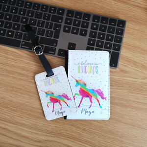 Personalised Rainbow Unicorn Passport Cover & Luggage Tag Any Name Printed
